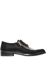 Diesel Black Gold Shiny Leather Zipped Derby Shoes Black