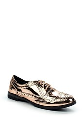 Lost Ink Janice Brogue Detail Oxford Shoes Rose Gold