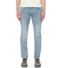 Allsaints Fellow Pistol Slim Fit Tapered Jeans Mid Indigo Blu