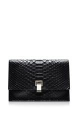 Proenza Schouler The Lunch Bag Small Python Clutch Black