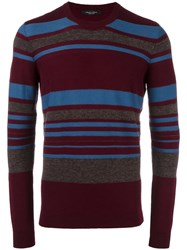 Roberto Collina Striped Crew Neck Jumper Red