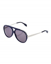 Alexander Mcqueen Metal And Acetate Combo Aviator Sunglasses Hvna Cryst