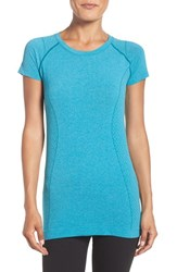 Zella Women's 'Level Up' Seamless Tee Teal Algiers Heather