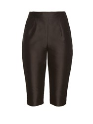 Isa Arfen High Waisted Cotton Blend Capri Trousers Black