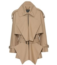 Burberry Cotton Gabardine Short Panelled Trench Coat Beige