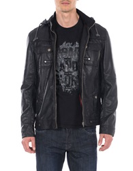 William Rast Faux Leather Hooded Moto Jacket Black