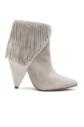 Iro Xabea Suede Fringe Boots In Gray