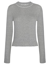 Whistles Striped Cropped Crew Neck Knit Blue