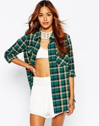 Pop Boutique Flannel Shirt In Green Check Greencheck