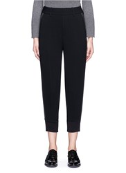 Neil Barrett Ribbed Cuff High Waist Crepe Pants Black