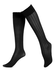 Hue Tri Ribbed Knee Hi Socks Black