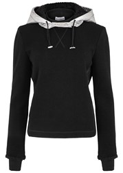 Paco Rabanne Hooded Jersey And Leather Sweatshirt Black
