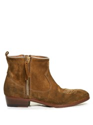 Golden Goose Anouk Western Distressed Suede Ankle Boots Tan