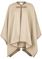 Max Mara Verbas Leather Trimmed Wool Poncho Taupe
