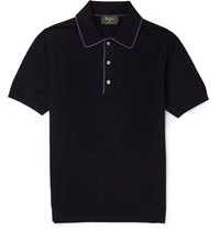 Berluti Cotton And Linen Blend Jersey Polo Shirt Blue