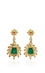 Amrapali 22K Gold Diamonds Rubies By And Carved Emeralds Royal Drop Earrings Multi