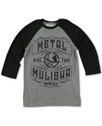 Metal Mulisha Men's Raglan Style Graphic Print T Shirt Charcoal