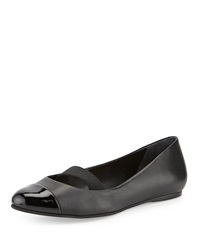 Bernardo Samantha Cap Toe Leather Flat Black