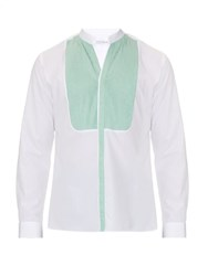 Mathieu Jerome Button Cuff Granddad Collar Cotton Shirt White Multi