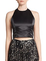 Alice Olivia Kenna Satin And Lace Cropped Halter Top Black