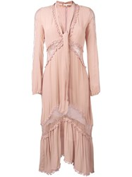 For Love And Lemons Sheer Detailing Mid Dress Pink And Purple