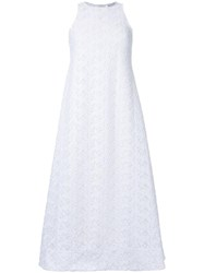 Scanlan Theodore Embroidered Panel Flared Dress White