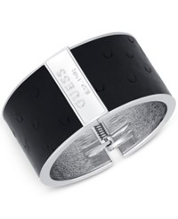 Guess Silver Tone Ostrich Embossed Faux Leather Hinged Cuff Bracelet Jet
