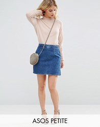 Asos Petite Denim A Line Skirt In Mid Wash Blue Blue