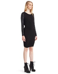 Kenneth Cole Virginie Faux Leather Sleeve Dress Black