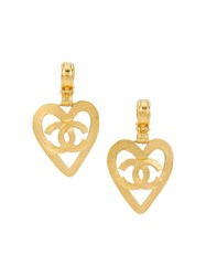 Chanel Vintage Cc Logo Heart Motif Clip On Earrings Metallic