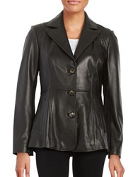 Jones New York Leather Button Front Jacket Black