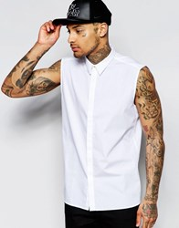 Asos Sleevless Shirt In White With Gold Top Button White