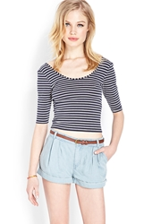 Forever 21 Pleated Chambray Shorts W Belt Denim Washed