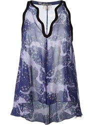 Giambattista Valli Floral Print Sleeveless Top Pink And Purple