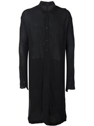 Lost And Found Ria Dunn Knee Length Button Down Semi Sheer Shirt Black