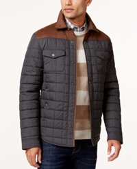 Tasso Elba Quilted Colorblocked Shirt Jacket Only At Macy's Grey Combo