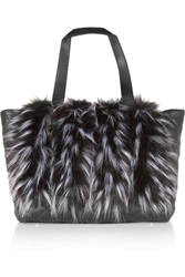 Dkny Leather Paneled Faux Fur Tote