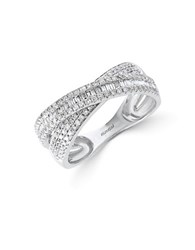Effy Classique Diamond And 14K White Gold Crisscross Ring 0.67 Tcw