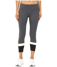 Kate Spade New York X Beyond Yoga Banded Capri Leggings Smoky Quartz Cream Black Women's Casual Pants White