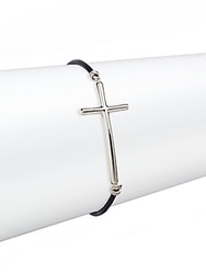 Saks Fifth Avenue Sterling Silver And Leather Cross Bracelet