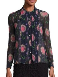 Red Valentino Silk Sunflower Tie Neck Blouse Navy Multi