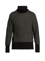 Tomas Maier Wool Knit Roll Neck Sweater Black Multi