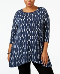 Alfani Plus Size Printed Swing Top Only At Macy's Shift Navy