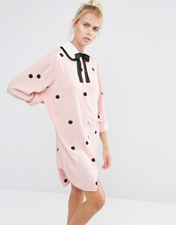 Lazy Oaf Shirt Dress With Flocked Spots And Tie Neck Collar Pink
