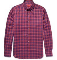 Isaia Slim Fit Button Down Collar Checked Cotton Shirt Red