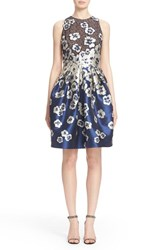 Women's Carmen Marc Valvo Floral Applique Cutaway Cocktail Dress