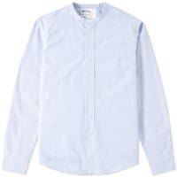 Mhl By Margaret Howell Mhl. Collarless Shirt Blue