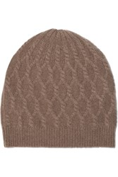 Madeleine Thompson Alice Cable Knit Cashmere Beanie Nude