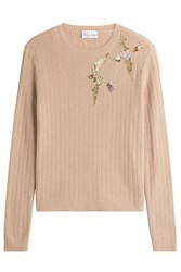 Red Valentino Ribbed Knit Pullover With Bird Embroidery Brown