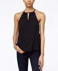 Bar Iii Lace Trim Keyhole Halter Top Only At Macy's Deep Black